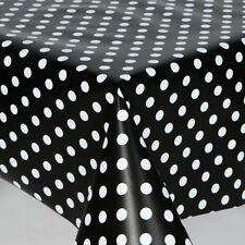 Plain Noir Pois PVC huile Vinyle TABLE CLOTH plain Essuyer moderne White Dotty