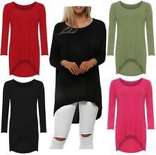 New Womens Baggy Oversized Casual Dip Hem High Low Tunic Top Tee T Shirt 8-22