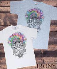 Mens White T-shirt Ganesh Namaste-Om Aum Jade Flame Tie Die Print TS656
