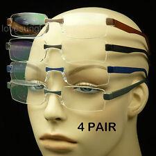 4 PAIR LOT READING GLASSES CLEAR LENS MEN WOMEN STRENGTH RIMLESS POWER PACK