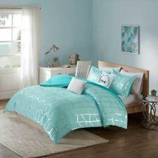 Chic Aqua Blue & Metallic Silver Geometric Comforter Set AND Decorative Pillows