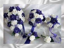 Brides,Bridesmaids,Flowergirl wedding bouquet, buttonholes,corsages Purple,Ivory