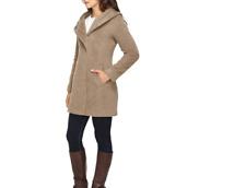 Cole Haan Women's  Hooded Italian Alpaca-Wool Coat - Maple Sugar, Size 6,10