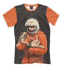 NEW T-shirt Russia soviet cosmonaut astronaut Gagarin dog orange space suit HQ