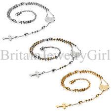 Stainless Steel Heart Prayer Cross Beaded Rosary Chain Necklace for Men Women