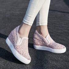 scarpe donna con zeppa interno 8cm modello pizzo da 32 a 44 tempi spedizione 7 g
