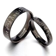 Black Prince&Princess Anyword Matching Wedding Engagement Titanium Rings Set F1