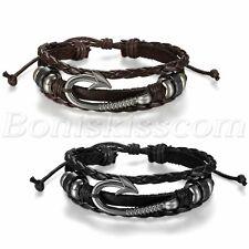 Fashion Handmade Multilayer Fish Hook Beaded Men Women Leather Bracelet Bangle