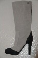 $1500 NEW CHANEL Grey Black Suede Leather CC Logo Platform Boots 40