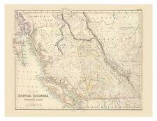 Old Vintage Decorative Map of British Columbia Vancouver Island Fullarton 1872