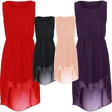 New Womens Dip Hem Chiffon Maxi Dress High Low Party Dress 8-26