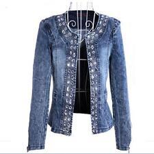 spring Women Diamonds denim jeans Coats Blaser Vintage Jeans denim jacket coat