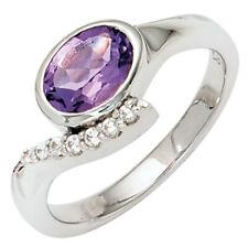 Ring Damenring Fingerschmuck 925 Silber Zirkonia lila & weiß Damen Silberring