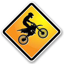 2 X 15 Cm Motocross señal de advertencia pegatina de vinilo Ipad Laptop Coche Bicicleta Niños # 4908