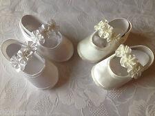 LITTLE BABY GIRLS SATIN ROSETTE PRAM SHOES CHRISTENING,WEDDING, IN WHITE & IVORY