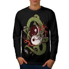 Wellcoda Dragon Yin Yang Art Mens Long Sleeve T-shirt, China Graphic Design