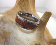 8mm Tungsten Carbide Genuine Hawaiian Koa Wood Comfort Fit Beveled Band Ring #2