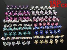 18Pcs Crystal Flower Mini Hair Claw Clamp Hair Clip Hair Pin Hair Accessory