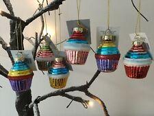 Gisela Graham Small Glass Glitter Cupcake Christmas Dec 6cm