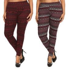 Womens Plus Size Faux Fur Lined Print Leggings Stretch Pants Warm Soft Winter