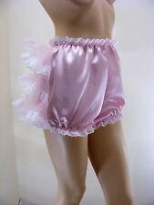 Adulte Bébé Sissy en satin rose à volants Bum Couvre-couche culotte avec la preuve de verrouillage ABDL