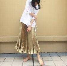 Women's Elastic High Waist Metallic Pleated Midi Skirt Vintage Long Gold Comfort