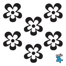 24 x Retro Flowers Vinyl Wall Art Sticker Decal Home Decor