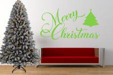 Merry Christmas, Xmas Tree, Wall Art Stickers, Mural, Decal Window Mirror Decor