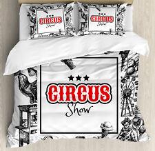 Vintage Duvet Cover Set with Pillow Shams Circus Show Magician Print