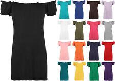 Ladies Off Shoulder Short Sleeve Plain Gypsy Boho Womens New Top Plus Size