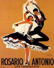 POSTER ROSARIO ANTONIO DANCERS FLAMENCO SPANISH DANCE VINTAGE REPRO FREE S/H