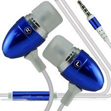 Auriculares estéreo de aluminio en oreja los auriculares de manos libres/Auriculares + Microfono ✔ Azul