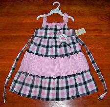 New! Girls SOPHIE ROSE Pink Black White Cotton Plaid Polka Dot Flower Dress