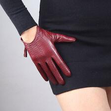 TECH GLOVES Real Leather Dark Red Wrist Short Zipper Fringe Tassel Touchscreen