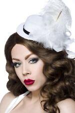 Mini chapeau Femme plumes feutre noir satiné blanc Accessoires satin uy 12339