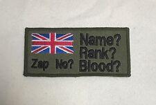 Personalised Badge, Army, Military, Blood Group, Rank, Hook Loop Option, Union J