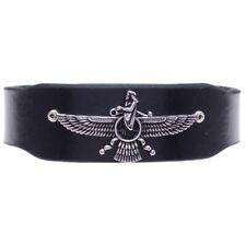 Unisex Iranian Persian Zoroastrian Farvahar Farohar Leather Bracelet Iran Persia