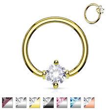Prong Round Gem CBR Captive Ring Surgical Steel 14g 16g Steel Gold Black #R7