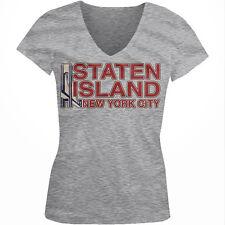 Staten Island New York Verrazano Bridge Borough NYC Ferry Juniors V-Neck T-Shirt