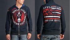 Affliction PEACE Hoodie XL NWT NEW Sweatshirt Reversible Skull Flag Blue
