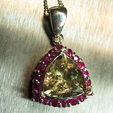 Natural Diaspore colour change & ruby 9ct 14k 18k yellow white rose Gold pendant