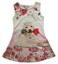 Mädchen Kleid Kinder Sommerkleid Kleider Tunika Shirt 104 - 158 Hund Hunde Motiv
