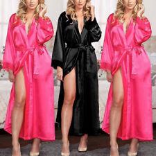 Femmes Dentelle Faux Soie Kimono Peignoir Robe Chemise de Nuit Chambre Pyjama