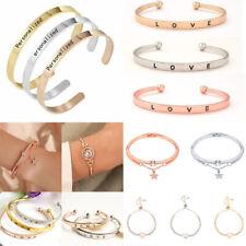 Bohemian Lady Women Stainless Steel Bracelet Chain Open Cuff Bangle Jewelry