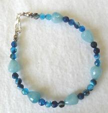 """Blue Agate + Quartz beaded bracelet - 7.25"""""""
