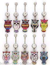 Owl Belly Navel Bar - 10 Designs - 10mm