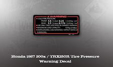 HONDA 1987 200X TRX 250R TIRE PRESSURE WARNING DECAL GRAPHIC LIKE NOS OEM