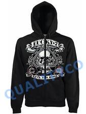 Lucky 7 Biker Skull Black Zipper Hoodie Classic Bike Club Gang Sweatshirt
