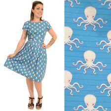 Run And Fly Blue Octopus Print Fifties Vtg Dress 8 10 12 14 16 18 20