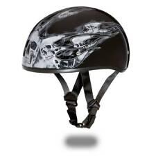 Daytona Helmets Skull Cap Open Face W/ SKULL FLAMES DOT Motorcycle Helmet D6-SFS